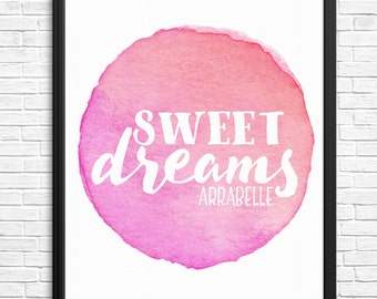 Custom Sweet Dreams Watercolour Digital Print