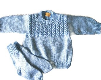 Knitted Baby Sweater and Socks, Pullover Size 3-6 Months, Baby Shower Gift, Knit Baby Blue Baby Sweater, Baby Boy Sweater