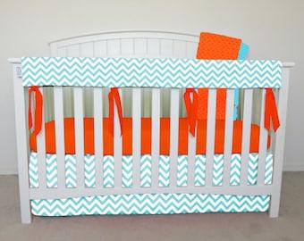 4 piece bumperless Crib Set - Aqua Chevron crib bedding, zig zag, aqua zig zag