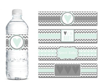 Gender Neutral Baby Shower Printable Decor - Mint And Grey Baby Shower Decor - Mint Water Bottle Labels - Grey And Mint Baby Shower - Print