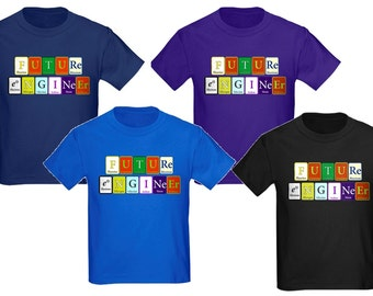 Future Engineer - Kid's T-Shirts based on the Periodic Elements of Chemistry!  Youth Sizes