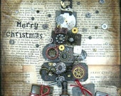 Christmas Wall Hanging - Steampunk Christmas Tree Canvas - Christmas Home Decor - Metal Vintage Christmas Tree Art - Holiday Gift