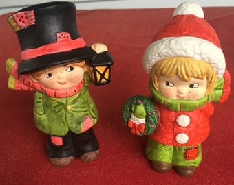 Vintage  Christmas Caroler figurines ceramic