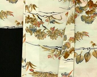 Japanese Kimono / Vintage Silk Haori Jacket / Chirimen Crape Kimono / Short Kimono Robe / 062705