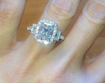 Forever One Moissanite Engagement Ring 3.90ct Radiant Cut Ring .70ct Natural Diamonds 18k White Gold Anniversary Pristine Custom Rings
