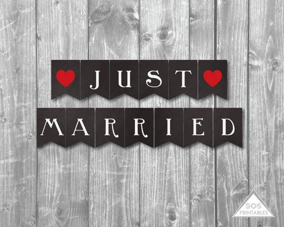 New Just Married Banner, Printable Wedding Banner, Just Married Sign  RS74