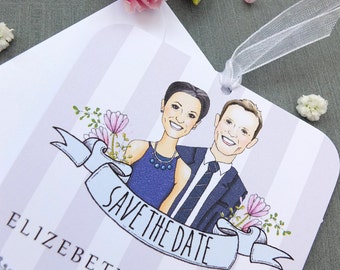 Caricature Save The Date Tag Sample