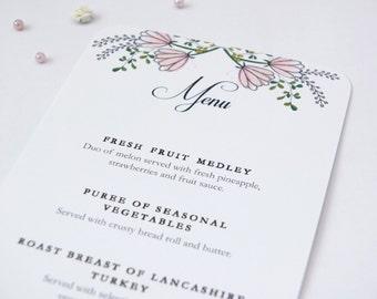 Pink Floral Wedding Breakfast Menu Sample