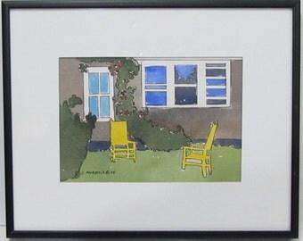 Wonderful Sylvia Murdock Watercolor & Ink Painting South Lawn 1994 Maine Artist