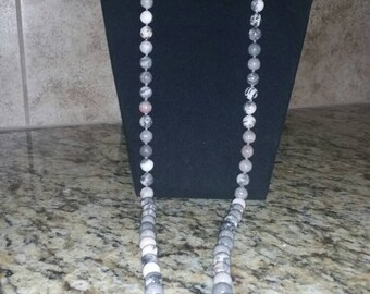 Grey and white silk knot necklace
