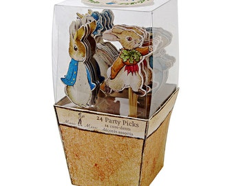 Peter Rabbit Party Picks (24), Easter Cupcake Picks, Meri Meri Beatrix Potter, Peter Rabbit Baby Shower, Peter Rabbit Birthday Party Decor