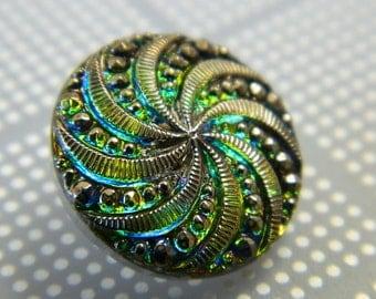 18MM Vintage Green & Blue AB Czech Glass Button - Boho Czech Buttons - Hand Painted Glass Shank Button - 3D Glass Buttons