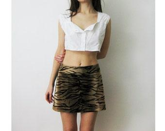 90s Tiger Faux Fur Mini Skirt Small 28