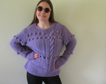 Chunky Knit, chunky sweater, chunky NZ wool,Lavender sweater. NZ wool, a warm, cuddly and roomy find. Are you getting cold yet?