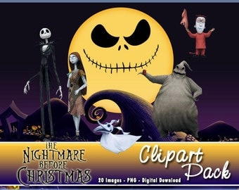 The Nightmare Before Christmas Clipart Pack 20 PNG Images Instant Download Digital Scrapbooking Party Cupcake Toppers 300 DPI