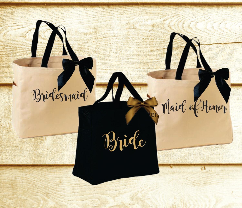 personalized bridal tote bag bridesmaid tote bag maid of