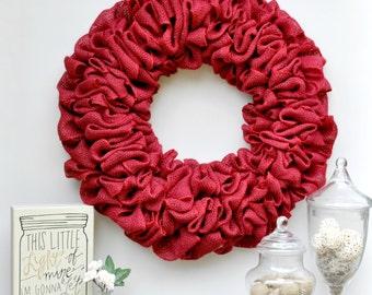 Red Burlap Wreath Front Door Decor, Holiday Wreath, Red Burlap Christmas Wreath, Valentines Door Hanger, Simple Wreath in 19 or 22 inch