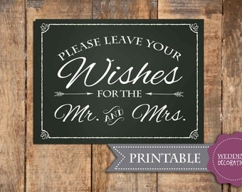 Please Leave Your Wishes for the Mr. and Mrs. Wedding Sign, Printable Wishes for Mr. and Mrs. Wedding Sign