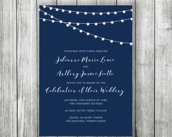 String Lights Wedding Invitation- Customizable & Printable