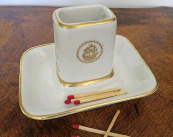 Match Safe Box Holder and Tray, Ceramic Matches Holder, Hotel China, Shenango China