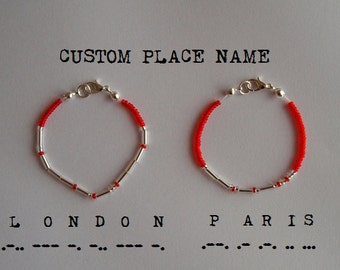 Two Custom City / State / Country / Place Morse Code Bracelets - Silver / Gold - Long Distance Relationship