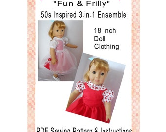 Fun & Frilly 50s Inspired 3 in 1 Ensemble 18 Inch Doll Clothing PDF Digital Download Sewing Pattern