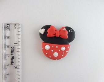 Minnie   ears. Red.  Clay Charm Bead, Scrapbooking, Bow Center, Pendant.