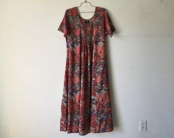 Vintage Dress - Abstract Print Long Maxi Short Sleeve