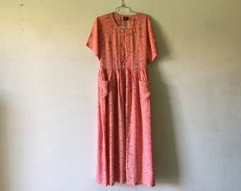 Vintage Dress - Grunge Floral Short Sleeve Front Pockets Long Maxi Tied at the Back