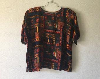 Vintage Blouse - Pullover Short Sleeve Geometric Bird Print Top