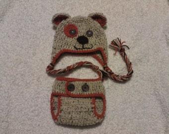 Crochet Puppy Hat/Diaper Cover