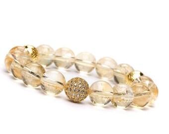 10mm Citrine, Citrine Bracelet, Citrine Stone Jewelry, Citrine Crystal Jewelry Bracelet, Gemstone Stretch Bracelet, Beaded Bracelet Women
