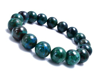 10mm Chrysocolla Bracelet, Azurite Bracelet,Chrysocolla Jewelry, Gemstone Bracelet, Blue Green Stone Bracelet, Blue Green Stretch Bracelet