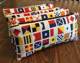 SALE! Nautical zipper pouch can be used as a pencil case, cosmetic case