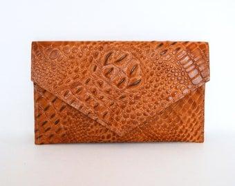 Crocodile Print Leather Clutch in Brown