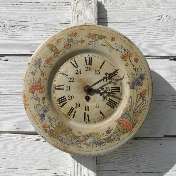 Original antique toleware clock, French tole clock, French clock, vintage clock, wall clock, French vintage, country home, country cottage
