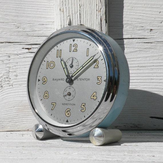 LARGE Blue French vintage Bayard alarm clock, Stentor Repetition, French vintage clocks, alarm clock, blue alarm clock, shabby chic French