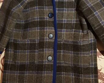 SALE - Vintage Hand Tailored Tartan Wool Little Boys Coat 3/4/5