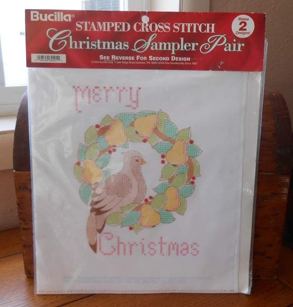 Bucilla DIY Stamped Cross Stitch Christmas Designs 2 Patterns Linen Fabric 1995