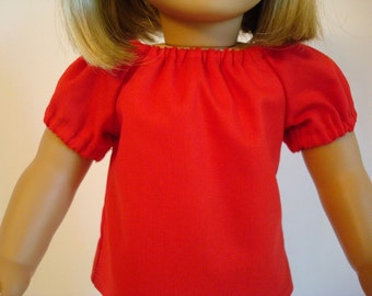 Red Cotton Peasant Top for American Girl Doll and 18-inch Dolls – Doll Red Shirt
