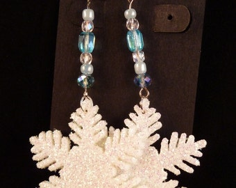 Let It Snow - White Snowflake Christmas Earrings