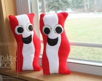 BACON. Plush Bacon. Meat Buddies. Bacon Buddy. Bacon Pillow.  Stuffed Bacon.