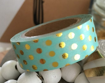 Masking Tape / Paper Tape / Washi Tape/ MT Mint Green w. Metallic Golden Dots