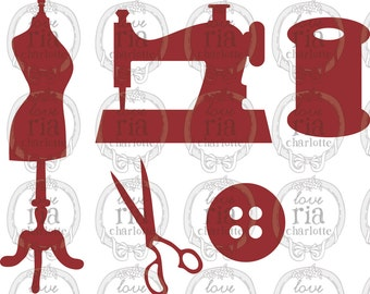 sewing machine, sewing accessory, mannequin digital die cut DXF SVG files instant download