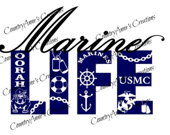 "SVG PNG DXF Eps Ai Wpc Cut file for Silhouette, Cricut, Pazzles, ScanNCut  -""Marine Life""  svg"