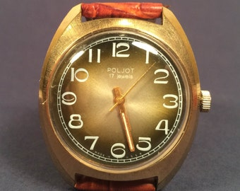 Mens watch Poljot GOLD PLATED - russian vintage watch -soviet union ussr watch - montre homme