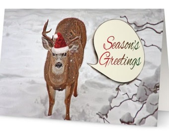Deer Christmas, Deer Cards, Seasons Greetings Cards, Xmas Cards, Cute Christmas Cards, Christmas Card Set, Christmas Animals, Santa Deer