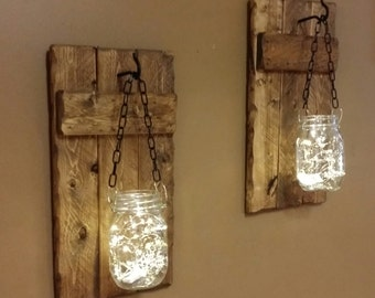 Rustic  Decor, candle holders,hanging Mason jars With Lights, sconces, Mason Jar with  Firefly lights, Rustic sconces set of 2.