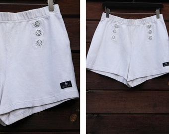Vintage Sailor short / White double breasted high waisted short / women's clothing / Nautical short