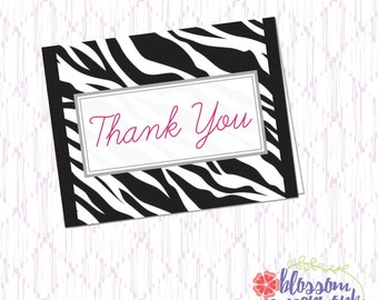 Pink & Zebra - Thank You Card